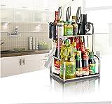 AEVEL Kitchen Stainless Steel Rack 2 Tier Shelf with Hooks Storage Supplies Spice / Herb Rack, Kitchen Cupboard Storage Totally Rustproof