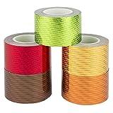 Deko-Klebeband, Laserpoints warm, 30mm x 5m, 5 Rollen | Washi Tape | Masking Tape | Dekoband | Laseroptik, gelasert, Hologramm, Holografie, 5 verschiedene Farben