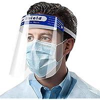 Visera protectora de cara completa, de plástico, ajustable, transparente, para evitar saliva, gotitas con banda elástica, paquete de 10