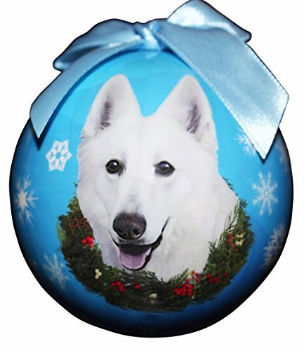 German Shepherd, White Christmas Ornament Shatter Proof Ball Easy To Personalize A Perfect Gift For German Shepherd Lovers by E&S Pets -