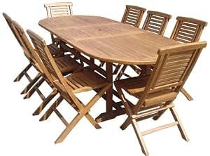 Salon de jardin en teck ovale 180-240cm PALAFRUGELL 8 places bois massif grade B