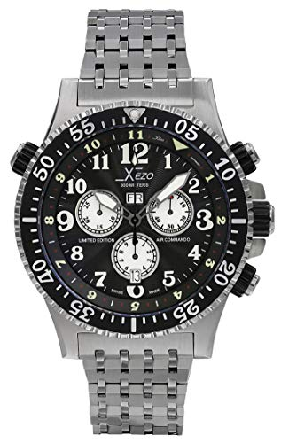 Xezo Air Commando - Reloj de Buceo con cronógrafo Suizo Resistente al Agua 30 Barras, 990 pies, Control...