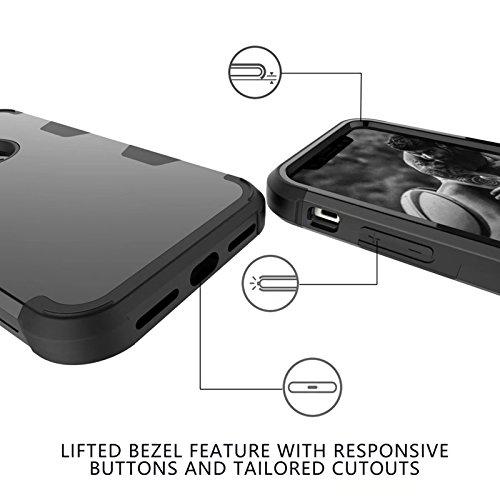 YHUISEN iPhone X Fall, Stoßdämpfung Drei-Schicht-Rüstung Defender [Heavy Duty] Robuste Hybrid Schutzhülle für iPhone X (2017) ( Color : Gray Orange ) Black