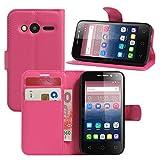 Alcatel Pixi 4 (4 Zoll) Hülle, HualuBro Premium PU Leder Wallet Flip Schutzhülle Tasche Case Cover mit Karten Slot für Alcatel Pixi 4 (4 Zoll) 4034D Smartphone (Rose)
