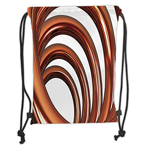 Drawstring Backpacks Bags, Copper Decor, Copper Helix Coil Curved Spiral Pipe Swirled Shape on White Backdrop Decorative, Orange and White Soft Satin, 5 Liter Capacity, Adjustable Strin