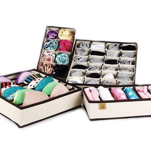 LAGUTE Aufbewahrungsboxen für Büstenhalter, Unterwäsche, Dessous und andere kleine Zubehörteile 4er Set (Normal Size)