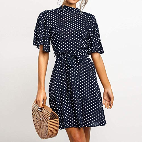 TIYKI Kleid Polka dot Dress Frauen Sommer Strand Chiffon Mini Dress Casual Kurzarm Damen büro Dress