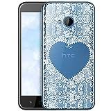OOH!COLOR Schutzhülle Kompatibel mit HTC U11 Life Hülle Silikon Case Handy Tasche transparent Bumper mit Coolen Aufdruck Motiv Wießes Spitzenherz Herz (EINWEG)