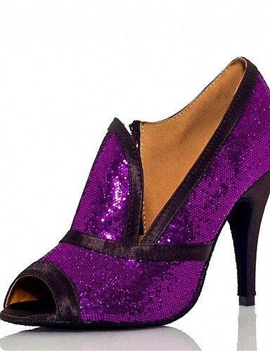 Sapatos Shangyi Dança (preto / Roxo) - Customizáveis cetim Calcanhar Personalizado Brilhante Sequin -latine Jazz Preto