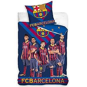 DRAPS HOUSSE FCB BARCELONE 140X200 cm.Parure de lit réversible