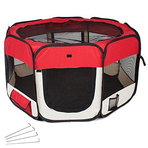 TecTake Welpenlaufstall Tierlaufstall für Kleintiere wie Hunde, Katzen - diverse Farben - (Rot)