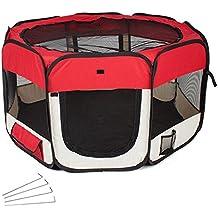 TecTake Parque para cachorros recinto parque para animales perros gatos rojo