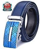 Xhtang-Ledergürtel Herren Automatik Gürtel mit Automatikschließe-3,5cm Breite M - Blau - Länge 125cm (Geeignet für 37-43 taille)