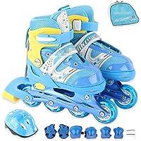 Disco Roler Skate,Conjunto de Patines para niños con Casco,Ajustables, Estables, CóModos Y FáCiles De Poner
