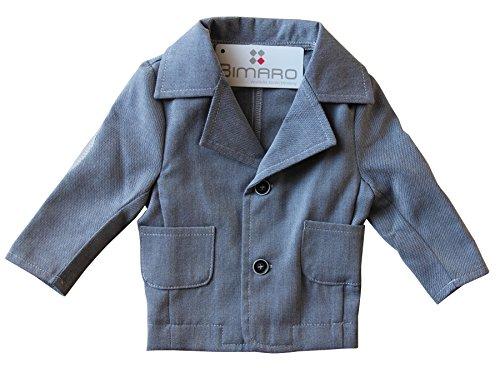 BIMARO Baby Jungen Sakko Noah grau meliert Jacke Babysakko Hochzeit Taufe festlich Anlass Jacket, Größe:86 (Ein-knopf-blazer Gefüttert,)