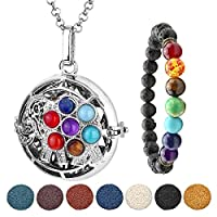 JSDDE Aromatherapy Essential Oil Diffuser Necklace Silver 7 Chakra Lucky Elephant Locket Pendant With 5 Dyed Lava Stones & 7 Chakra Lava Stone Bracelet