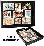 alles-meine.de GmbH großes Tablett -  für - 9 große Fotos & Bilder  - rechteckig - Vintage - Foto Serviertablett aus Holz - schwarz / auch zur Deko geeignet - Retro Design - Bi..