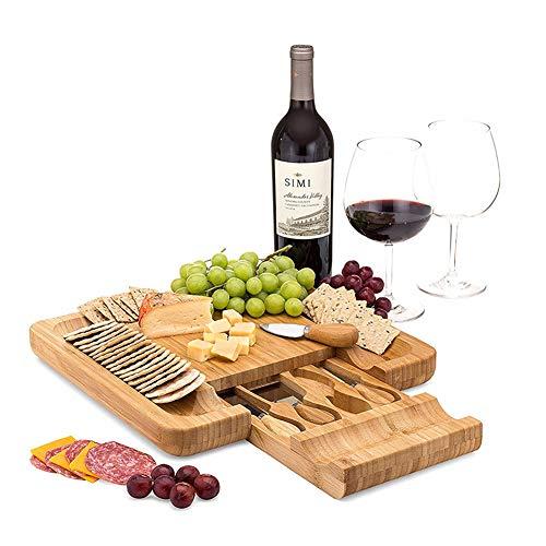 PENGSHAO Natürliche Bambus-Käseplatte und Besteck mit ausziehbarer Schublade - Serviertablett für Wein, Cracker, Charcuterie