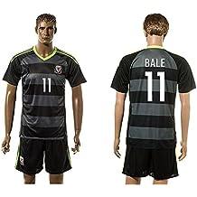 2016UEFA Euro Cup Wales 11Gareth Bale Away Jersey in Schwarz Grau gestreift Small schwarz - schwarz