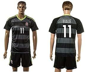2016UEFA Euro Cup Wales 11Gareth Bale Away Jersey in Schwarz Grau gestreift