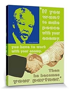 Nelson Mandela Poster Reproduction Sur Toile, Tendue Sur Châssis - Fais La Paix Avec Ton Ennemi (50 x 40 cm)