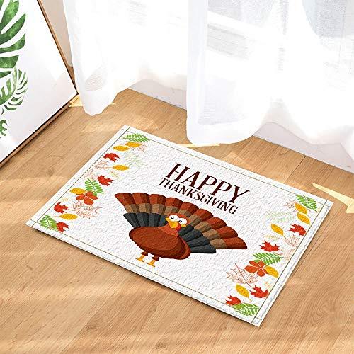 HTSJYJYT Thanksgiving Decor Cartoon Türkei mit Herbst Blätter Badteppiche rutschfeste Fußmatte Boden Entryways Indoor Haustürmatte Kinder Badmatte60X40CM Badzubehör (Türkei Thanksgiving Ausschnitte)