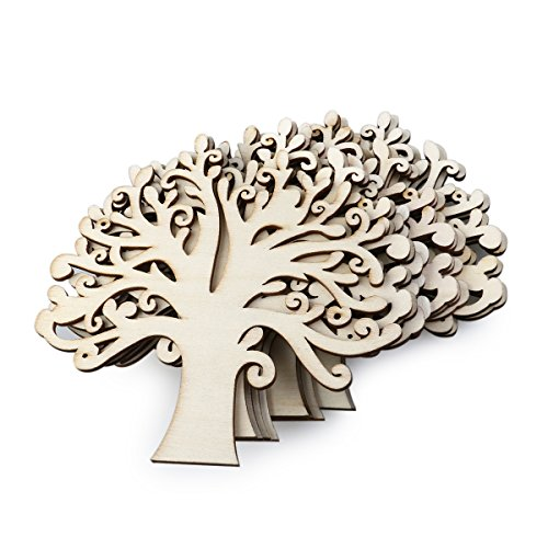 NUOLUX 10pcs Wooden Tree Embellishments for Wedding Christmas Ornaments DIY Crafts