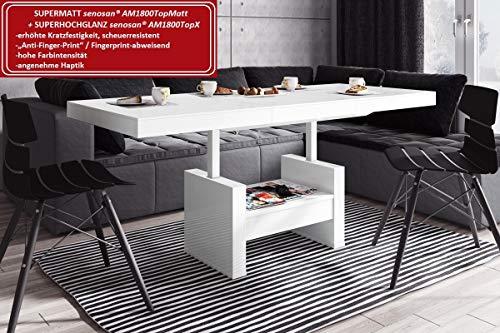 Preisvergleich Produktbild HU Design Couchtisch HLU-111 Hochglanz / MATT Schublade höhenverstellbar ausziehbar (Weiß Matt / Weiß Hochglanz Kombination)