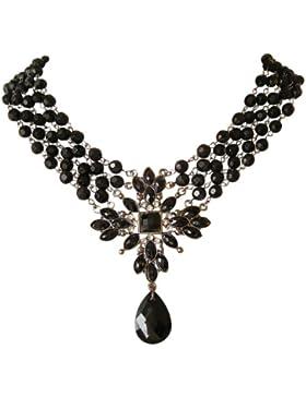 Trachtenschmuck Dirndl Gothic schwarzes Perlen Collier - Mit Jet schwarzen & Crystal klaren Kristallen