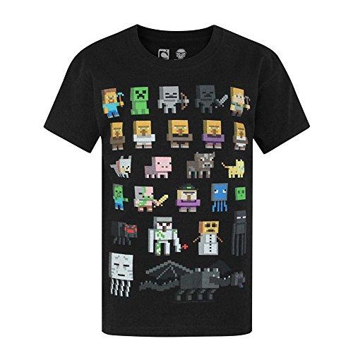 Minecraft Sprites Ragazzi T-Shirt (Nero, 14-15 Years)