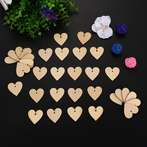 100 Pieces Wood Heart Blank Wooden Heart Embellishments 40 mm with 10 m Natural Twine for Wedding DIY Arts Crafts Card Making Valentine Decoration