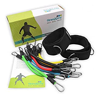 fitnessXzone Leg Resistance Bands Set - 13 Pieces with Carry Bag for Speed Agility and Strength
