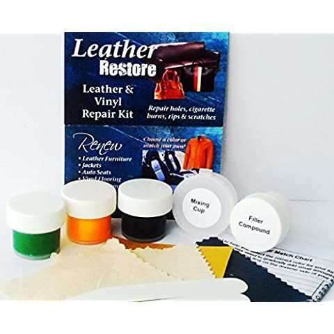 Leather Restore Air Dry Leather and Vinyl Repair Kit Fixes Rips Scratches Holes on Green Colored Furniture Sofas Auto Seats by Leather Restore