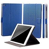 iCues Apple iPad Air 2 Manzano Bag   Funzione di 360 Stand di Carbonio Blu   Premium Stand Luce supplementare in Pelle Molto Sottile - Libro incernierato Custodia pr Custodia Cover Case Tasca Borsa