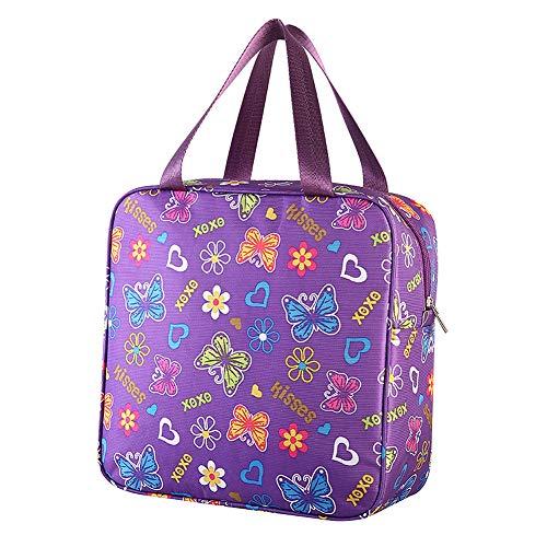 Westeng Sac à déjeuner en Tissu Oxford Sac Fraîcheur Motif Papillon Portable Isotherme Sac Repas Lunch Bag Violet pour Ecole Bureau Pique-Nique (L)