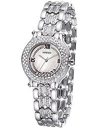 Time100 W50324L.03A de los diamantes de moda Retro de cuarzo reloj de las mujeres de acero de la esfera