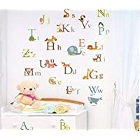 Zooarts Alphabet A-Z Animal Letters Learning Mural Wall Sticker Decal for Kid Child Room Decor