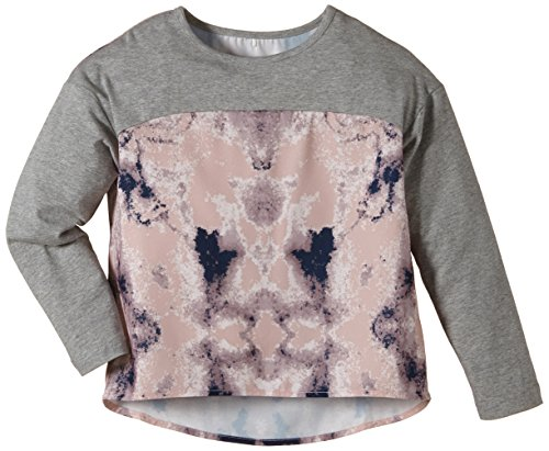 NAME IT - Germine Kids Oversize Top Lmtd 215, T-shirt per bambine e ragazze, multicolore (grey melange), 116 (Taglia produttore: 116)