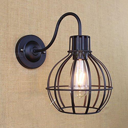 Lampe de poche intérieure à économie d'énergie --- American Pastoral Retro Classic Creative Simple Black Iron Applique Bar à l'intérieur Applique - 1 lumière Lampe murale