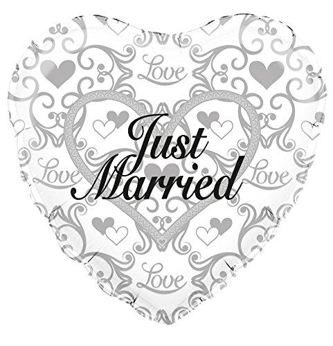 Just Married en forme de cœur holographique Ballon en aluminium 45 cm (45,7 cm)