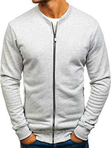BOLF Herren Sweatshirt ohne Kapuze Reißverschluss Fitness Sport Style 43S-B Grau M [1A1]