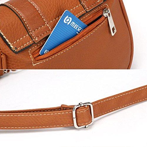 YouPue Damen Schultasche Handtasche Retro Kuriertasche Kleine Clutch Tasche Umhängetasche Pu-Leder Tragetaschen Hellbraun