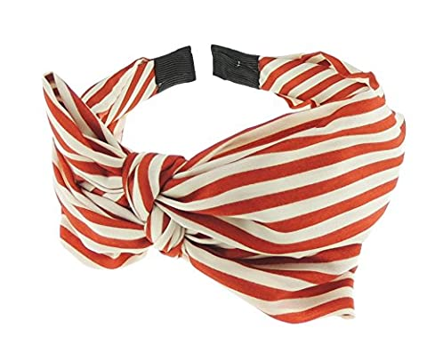 Ladies Retro Chiffon Draped Bow Floral Pattern Headband Alice Band (Red Stripe)