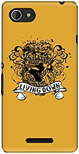 The Racoon Lean printed designer hard back mobile phone case cover for Sony Xperia E3. (Yellow Liv)