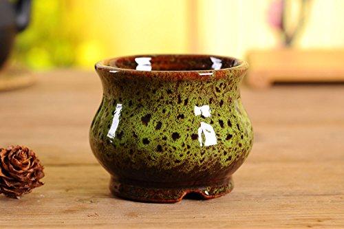 VanEnjoy Vintage Style Rund Keramik Sukkulente, Topf, Multi Color/Bunt glasiert, Innen Home Décor Kaktus Blume Bonsai Topf Übertopf Container, 10,9cm 4.3 x 3.3 (DxH) inches. Grün