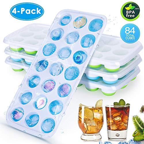 CAVN Silikon Eiswürfelform [4-Stück], 84-Fach Eiswuerfel Form Mit Deckel & Clip Ice Tray Ice Cube, LFGB Zertifiziert, BPA-frei, Eiswuerfelbehaelter Eiswürfelschale für babynahrung, Party und Bars
