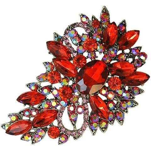 Ever Faith - Flores Lagrimas Broche Pendiente Color Granate Enero Birthstone A02600-3