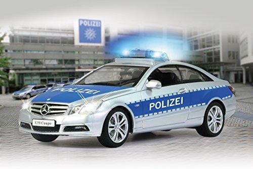 Jamara 410023 - Mercedes E350 Coupe 1:16 Polizei 2,4GHz - deutsche Polizeisirene, Alarmanlage, Startton, Beschleunigungston, Bremston, Hupe, Zusperrton, Signalleuchte, Blinker, 4 Geschwindigkeiten - 2