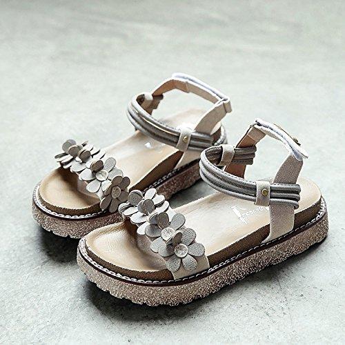 RUGAI-UE Studenti donne sandali estivi Spiaggia Piana scarpe tacco piatto scarpe Beige