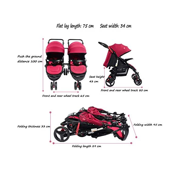Twin Baby Stroller Sit/recumbent Lightweight Folding Detachable Ultralight Shock Absorber Bb Three-wheeled Trolley Suitable For 0-3 Years Old,L BABY CARRIAGE ZLMI ✿ detachable separately, easy to split and use independently, split twins advantage ✿ one set for three sets: 0-3 years old need one car, no need to buy another single car ✿ Alleviate the travel burden: the baby has their own car in independent action, the reinforced frame is strong in weight! It can bear the weight of two adults at the same time. 7